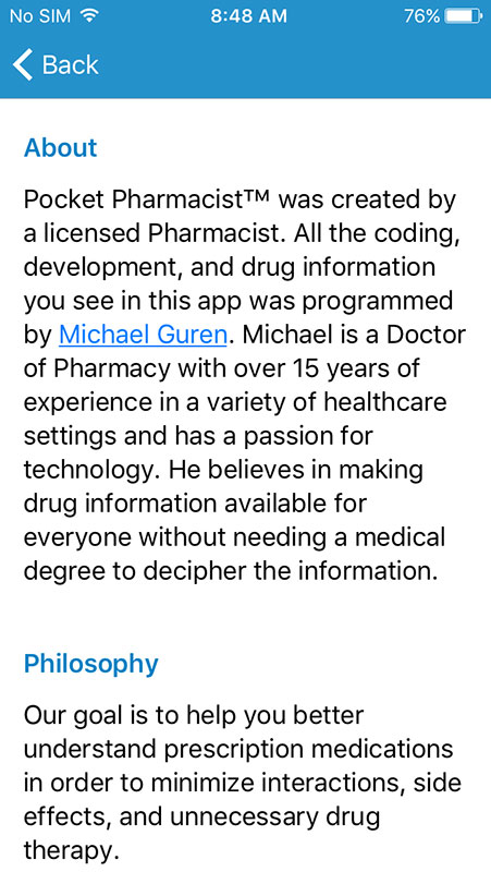 the apps interface is really simple featuring a list of the apps main sections including drug search interaction check med box chat and drug quiz - Drug Information Pharmacist